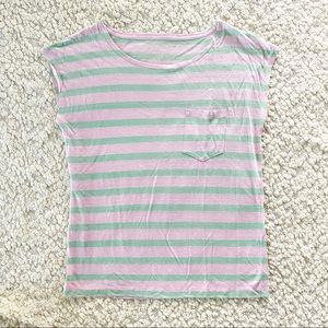 J. Crew Striped 100 Linen Pocket Tee Pink & Mint M